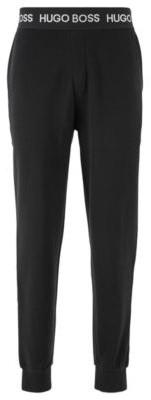 HUGO BOSS Loungewear Pants In Cotton Pique Jacquard With Cuffed Hems - Grey