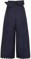 See by Chloe Scalloped Cotton-poplin Wide-leg Pants - Navy