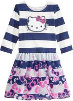 Hello Kitty Bow-Print Striped Dress, Little Girls
