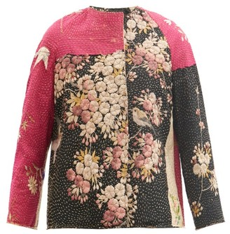 By Walid Ilana Upcycled Embroidered Silk-blend Jacket - Black Pink