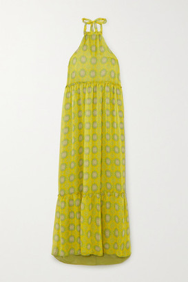 Eywasouls Malibu Ayla Tiered Printed Chiffon Halterneck Maxi Dress - Yellow