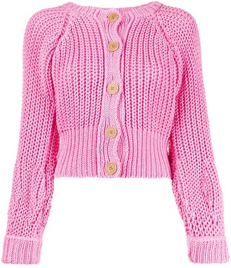 Maison Flaneur Cropped Cable-Knit Cardigan