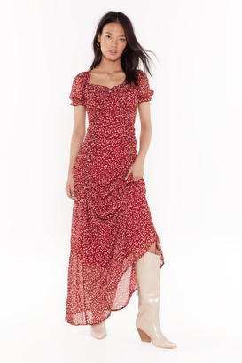 Nasty Gal Womens In Flower Own World Floral Maxi Dress - Red - 12