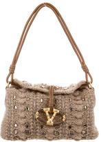 Valentino Gem-Embellished Cable Knit Shoulder Bag