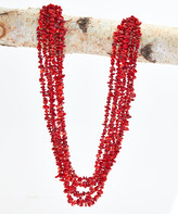 Maya's Gems Women's Necklaces Red - Red Coral Tier Necklace