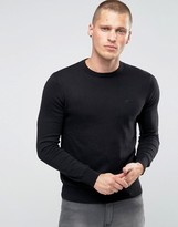 Armani Jeans Jumper With Crew Neck & Logo In Black