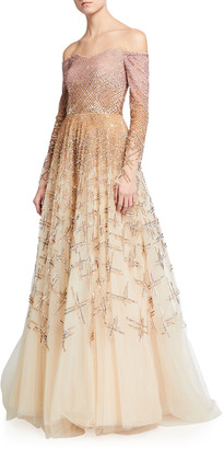 Pamella Roland Ombre Embellished Off-the-Shoulder Ball Gown