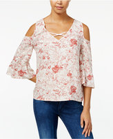 One Hart Juniors' Cold-Shoulder Ruffle-Sleeve Blouse, Only at Macy's