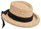 Scala Collezione Women's Petite Boater Hat - Natural