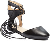Black High-Ankle Lace-Up Flat