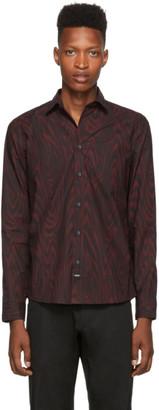 Kenzo Burgundy and Black Tiger Monogram Shirt