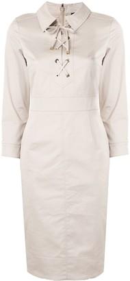Paule Ka Lace Up Shirt Dress