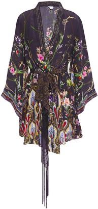 Camilla Wildflower Printed Silk Crepe De Chine Mini Wrap Dress