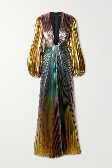 Thumbnail for your product : Reem Acra Pleated Silk-blend Lame Gown - Metallic