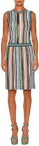 Missoni Sleeveless Stripe-Knit Dress, Green/Multi
