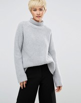 Weekday Roll Neck Sweater with Asymmetric Detail