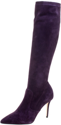 Le Silla Purple Stretch Velour Knee High Pointed Toe Boots Size 40
