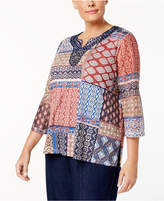 Alfred Dunner Plus Size Gypsy Moon Collection Patchwork-Print Blouse