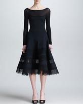 Donna Karan Lace & Jersey Long-Sleeve Dress, Black