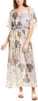 Sabrina Taj By Crippa Pleated Silk Maxi Skirt
