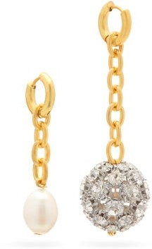 Timeless Pearly Mismatched Crystal-embellished And Pearl Earrings - Crystal