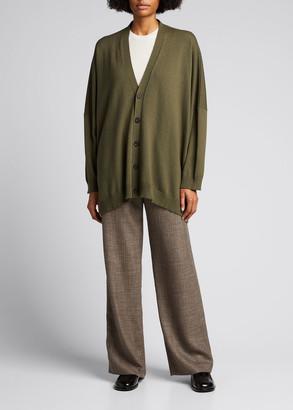 eskandar Wide V-Neck Button-Front Cashmere Cardigan