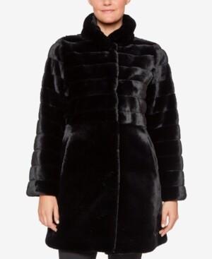 Jones New York Stand-Collar Faux-Fur Coat