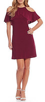 R & M Richards Petite Cold-Shoulder Matte Jersey Dress