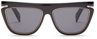 Metal Trim D Frame Acetate Sunglasses - Mens - Black