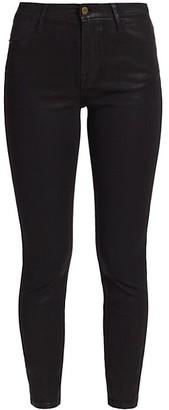 Frame Le High Skinny Crop Coated Jeans