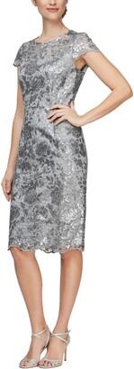 Alex Evenings Cap Sleeve Sequin Embroidered Sheath Dress