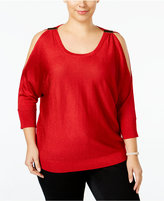 INC International Concepts Plus Size Metallic Cold-Shoulder Sweater, Only at Macy's