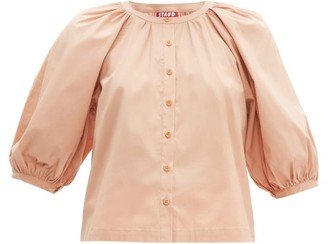 STAUD Blouson-sleeve Cotton-blend Top - Womens - Beige
