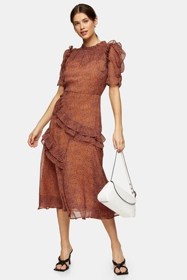 Topshop Womens Orange Floral Print Ruffle Midi Dress - Orange