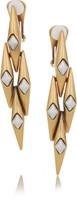 Oscar de la Renta 24-karat gold-plated link clip earrings