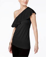 INC International Concepts Petite One-Shoulder Ruffle Top, Only at Macy's