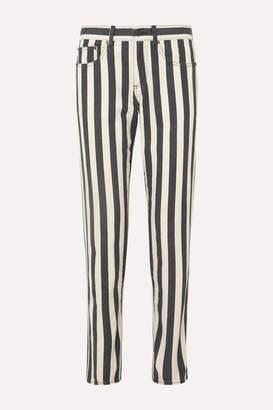 Saint Laurent Striped Low-rise Slim-leg Jeans - Black
