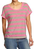 Old Navy Neon Pink Stripe Dolman Top