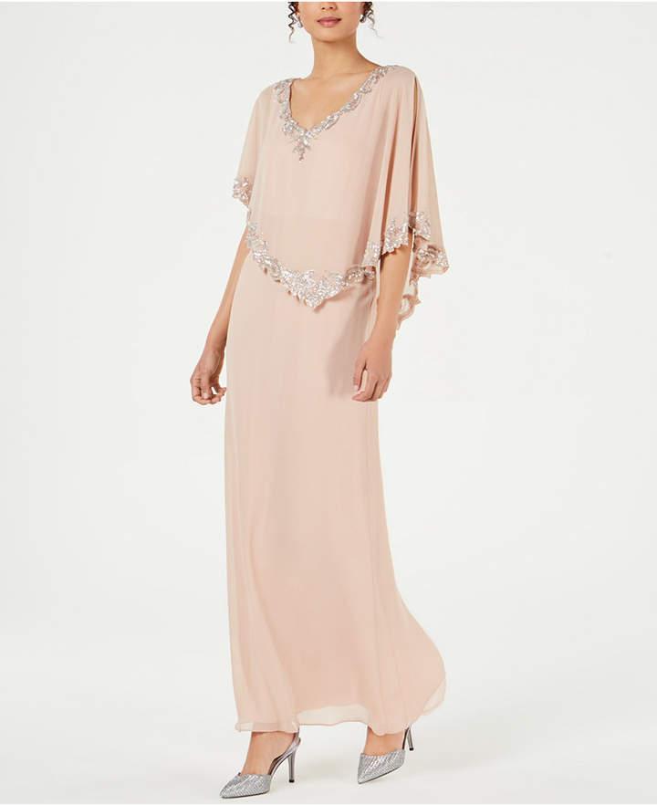 J Kara Beaded Capelet Gown