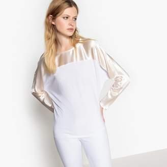 La Redoute Collections Metallic Dual Fabric T-Shirt