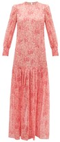 Adriana Degreas Hydrangea-print Silk-muslin Dress - Womens - Pink Print