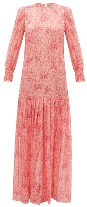 Adriana Degreas Hydrangea-print Silk-muslin Dress - Pink Print