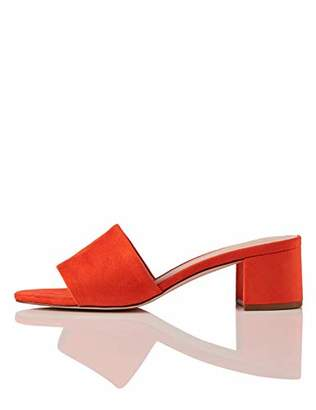 find. Wide Fit Simple Block Heel Mule Open Toe Sandals, Orange Coral)
