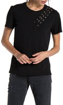 n:PHILANTHROPY - Gaia Short Sleeve with Lacing Detail - Black