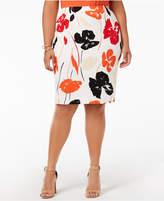 Kasper Plus Size Printed Pencil Skirt