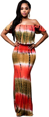 BIUBIU Women's Floral Off Shoulder Ruffle Bodycon Long Party Maxi Dress Style #2 Orange UK 6-8