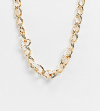 Reclaimed Vintage inspired chunky pearl and chain necklace in gold