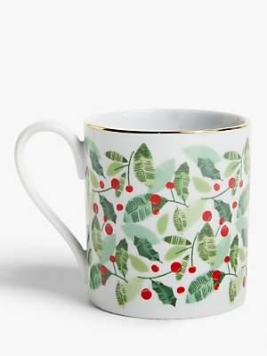 John Lewis & Partners Christmas Holly Mug, 300ml, Green/Red