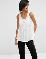 Vero Moda Tiered Button Through Shell Top