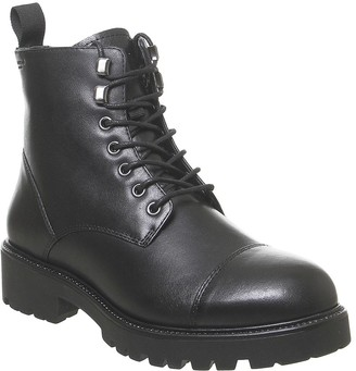Vagabond Kenova Lace Hiker Boots Black Fur Lined